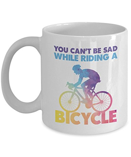 You Can't Be Sad While Riding A Bicycle Gradient Color Graphic Coffee & Tea Gift Mug for a Biker and Cup Gifts for Men & Women Cyclist