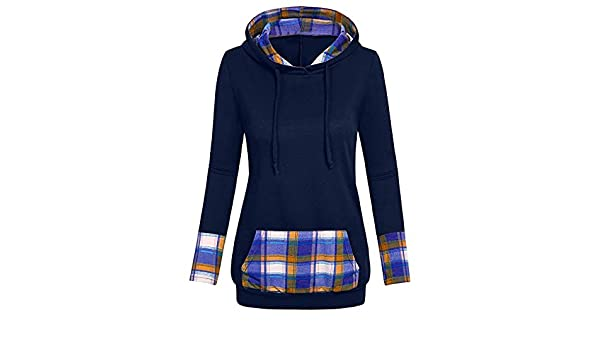 Amazon.com: ZJSWCP Sweatshirt New Women Hooded Plaid with Diagonal Turkish V-Neck Shirt and Top Blouse Sudaderas Mujer Bluza Damska Moleton Feminino 10: ...