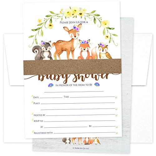 Paper Kit Co. Woodland Creature Baby Shower Invitations (25 Pack) for Girl or Boy with Envelopes - Gender Neutral. Deer and Fox in a Floral Forest - Fits Perfectly with Woodland Animals Decorations.
