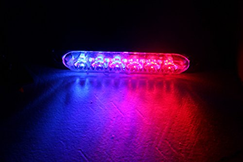 GPPOWER Universal super thin 6-LED Red/Blue 19-Flashing Mode Car Truck Warning Caution Emergency Construction Strobe Light Bar (06T, 1PC red/blue) (Strobe Bar Light Blue Red)