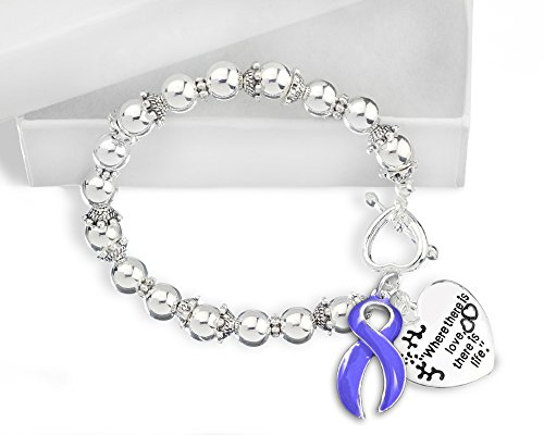 Fundraising For A Cause Esophageal Cancer Awareness Periwinkle Ribbon Bracelet in a Gift Box - Where There is Love (Retail)