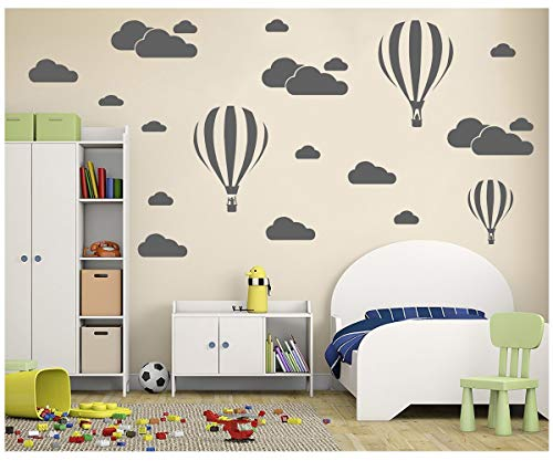 Melissalove White Clouds & Hot Air Balloons Nursery Kids Chi