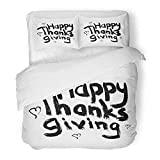 Emvency 3 Piece Duvet Cover Set Brushed Microfiber Fabric Breathable Decorating on White Hand Written for Window Making Wall Happy Thanksgiving Bedding Set with 2 Pillow Covers Twin Size