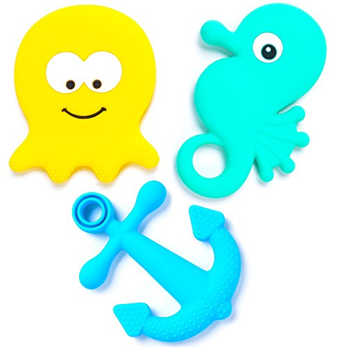 BEBE Advanced 'Under the Sea' Teething Toys & Gift Bag - Gum Massagers, Studded & Large (Set of 3) ()
