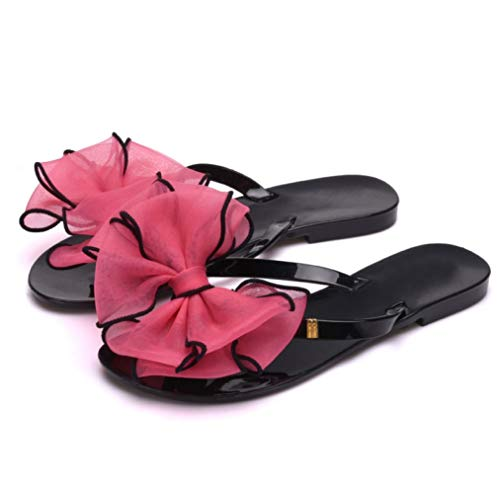(JORCOKA Summer Beach Slippers Flip Flops Ribbon Bow Flats Slip on Jelly Sandals for Women Causal Slides Rose Red)