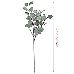 Cyanbamboo 6pcs Artificial Leaves, Long Branches Plants Fake Dollar Eucalyptus Leaf Spray for Home Party Wedding Office Shop Decor 25 Inch 2