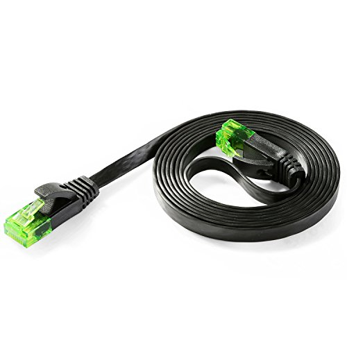 Hexagon Network – Ethernet Cable Cat6 Flat 5ft Black, Network Cable Cat 6 Flat Slim Ethernet Patch Cable, Internet Cable With Snagless Green RJ45 Connectors – 5 Feet Black