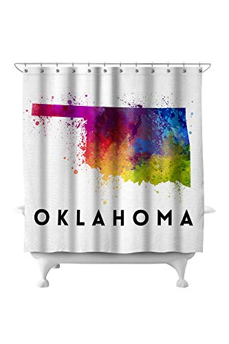 Lantern Press Oklahoma - State Abstract Watercolor 77259 (74x74 Polyester Shower Curtain) - Oklahoma State Printed Curtain
