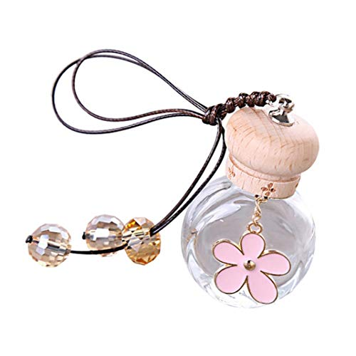 act79ove, Pendant, Car Electronics, Lovely Flower Glass Empty Perfume Bottle Pendant Car Hanging Ornament Decor &for Car - Pink
