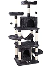 Kattenboom, krabpaal groot hoogte 170 cm met stabiele klimboom, hangmat, speelhuis, hol, bal, anti-valontwerp voor katten en huisdieren(grijs/beige)