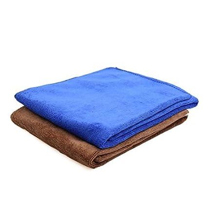 eDealMax 65 x 33 cm toalla absorbente 400gsm de coches de microfibra limpia 2pcs Color Azul