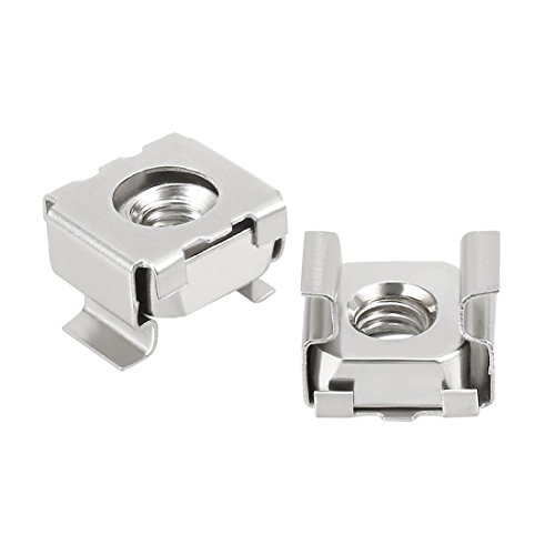 uxcell 55 Pack, M5 Cage Nut, 304 Stainless Steel for Server Shelf Cabinet (Cage Steel Nuts Stainless)