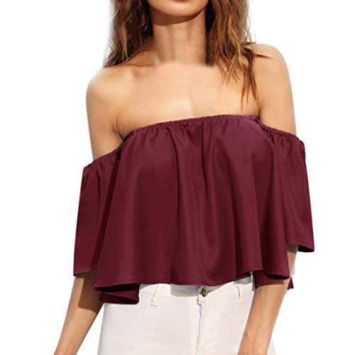 Hot Sale! Women Blouse, Forthery Women's Fashion Tops Casual Off Shoulder T-Shirt (Wine Red, (Denim Fold Wallet)
