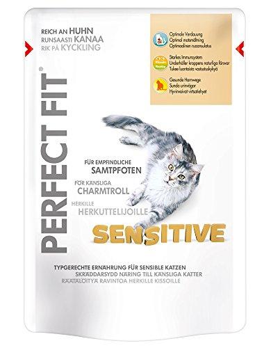 Perfect Fit Sensitive Katzenfutter reich an Huhn in Sauce, 12 Beutel (12 x 85 g)