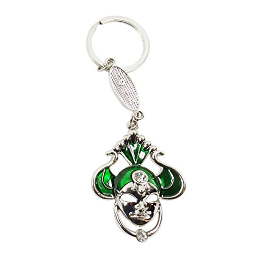 Green Clown Buffoon Court Jester Stainless Steel and Porcelain Enamel Keychain Keyring Zipper Pull with Lobster Clasp - Porcelain Lobster