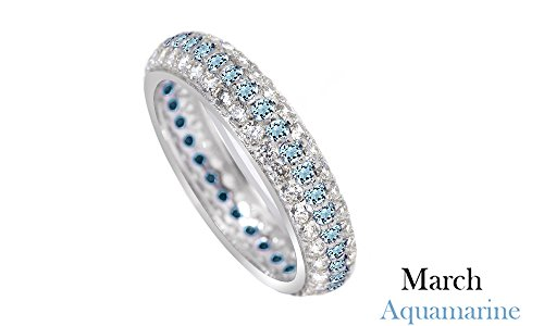 Jewel Zone US Round Cut Blue Simulated Aquamarine Eternity Ring in 14K White Gold Over Sterling Silver