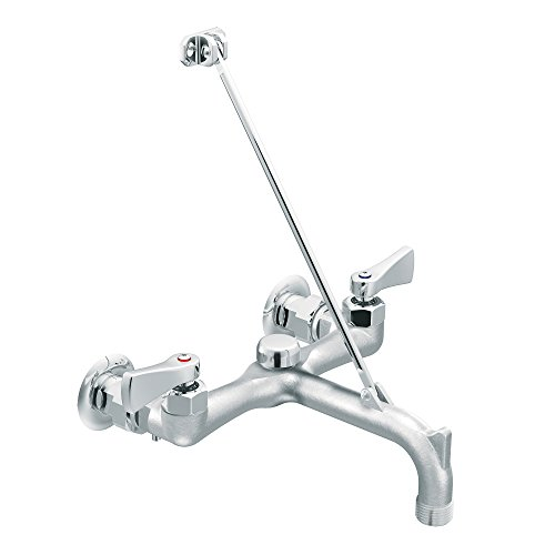 M-DURA Two-Handle Service Sink Faucet with Vacuum Breaker, Rough Chrome ()