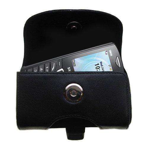 Designer Gomadic Black Leather Samsung Squash Belt Carrying Case - Includes Optional Belt Loop and Removable Clip