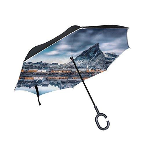 RH Studio Inverted Umbrella Mountains Lake Buildings Large Double Layer Outdoor Rain Sun Car Reversible Umbrella by RH Studio