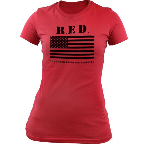 Womens RED (Remember Everyone Deployed) Flag T-Shirt