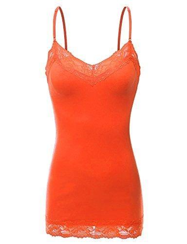 RT1004 Ladies Adjustable Spaghetti Strap Lace Trim Long Tunic Cami Tank Top Orange L