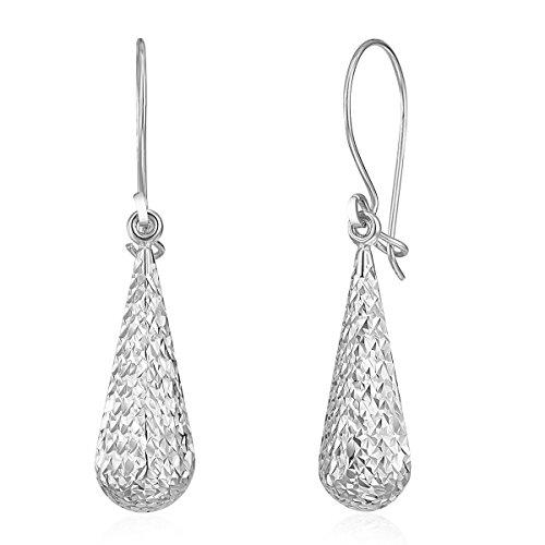 Wellingsale Ladies 14k White Gold Diamond Cut Polished Fancy Dangle Hanging Drop Earrings (6 x 25mm)