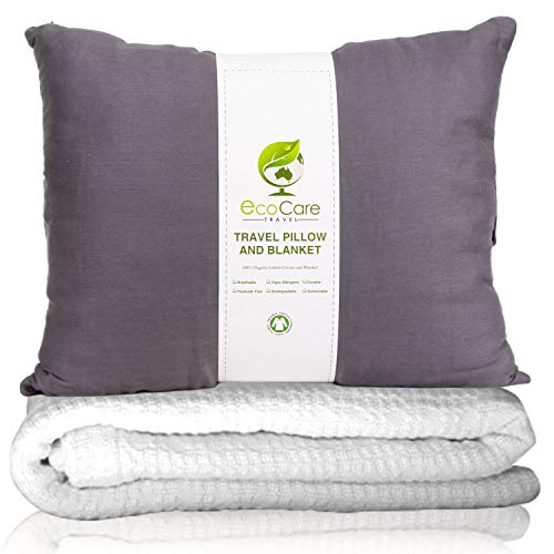 Eco Care Travel Pillow and Blanket Set, 100% Organic Cotton - Beautiful and Soft, Travel Accessories for Airplane, Car, Camping, Backpacking. Gray