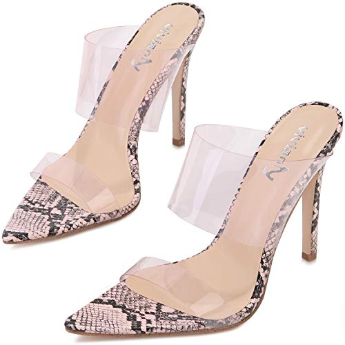 vivianly Womens Transparent High Heels Clear Pointed Toe Mules Stiletto Heel Slip on Dress Sandals