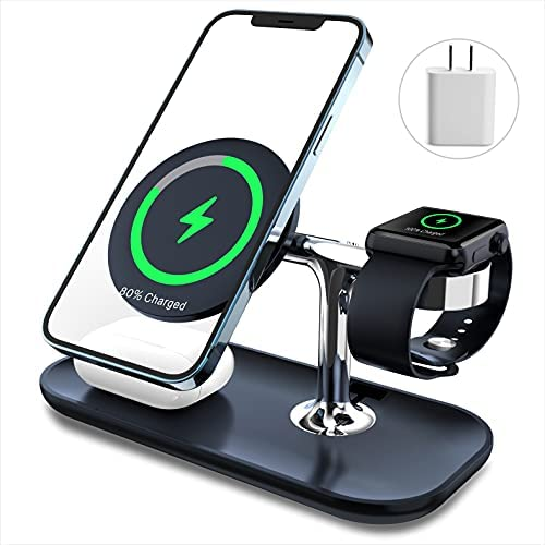 MAKAQI 3 in 1 Magnetic Wireless Charger Station Compatible with iPhone 12, Pro, Pro Max, Mini, Mag-Safe Standwith 18W PD Plug forAirPods, Apple Watch(Only for iPhone12 Series)