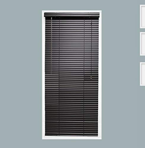 TailorView, Custom Made 1 Inch Aluminum Horizontal Venetian Window Mini Blind, Matte Black, Inside Mount, Inner Window Size: 22″ W x 36″ H
