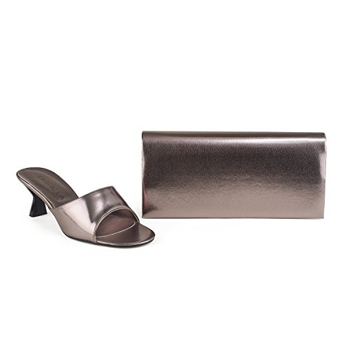 Metallic Open Toe Sandals and Bags Matching Set