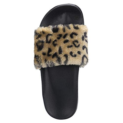 Casual Flip Flop Sandals for Women, Huazi2 Ladies Girls Sliders Leopard Fluffy Faux Fur Flat Slippers Shoes -