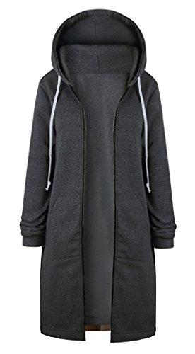 Gris Larga Largas Chaqueta Jacket Mangas Cremallera con Invierno Sudadera Hoodies Cárdigan oscuro Coat Mujer Capucha wtZOX