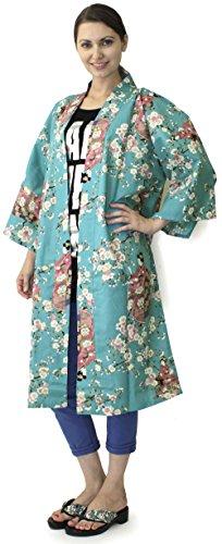(Japanese Women's Kimono Robe Happi Coat Dress Cotton Cherry Blossoms Maiko)