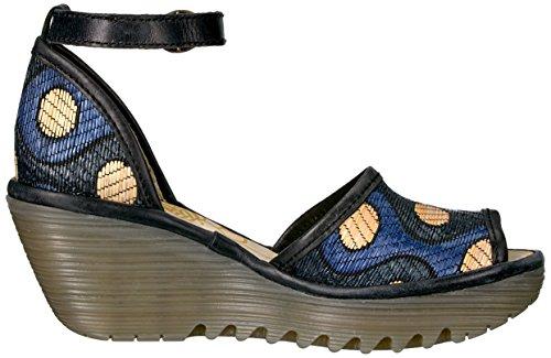 Mouche London Yeji Femmes Sandales Compensées Blk / Blu / Beige