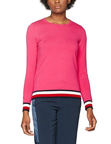 Tommy Hilfiger Ivy C-Nk Swtr, Camisa Manga Larga para Mujer Rosa (Magenta 684)