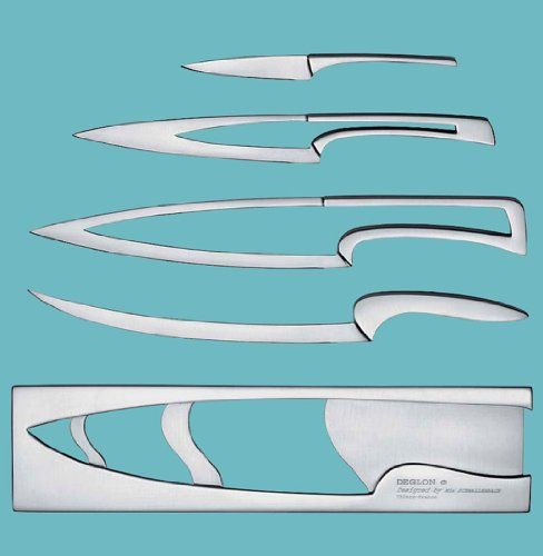 Deglon Meeting Knife Set, Stainless Steel Knives and Block, Set of 4 - coolthings.us