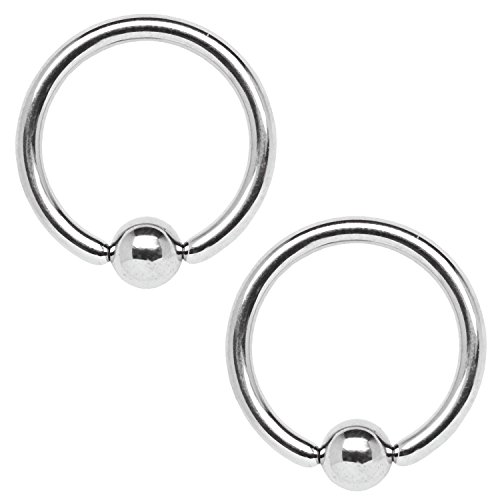 BodyJ4You 2PC Ball Closure Ring Stainless Steel 14G BCR 14mm Ear Lobe Conch Nipple Lip Genital Piercing