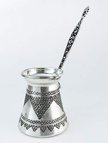 Handcraftideas%100 Hand Made Engraved Sturdy Copper Turkish Greek Arabic Armenian Coffee Pot - Stovetop Coffee Maker Cezve Ibrik Briki with Brass Handle -17 fl. Oz(500ml)- (CP-109)