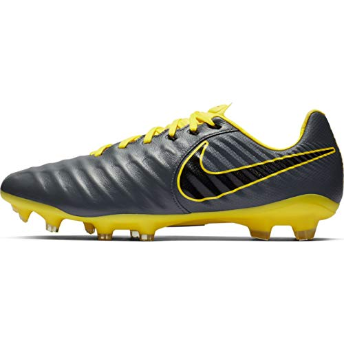 Nike Men's Tiempo Legend 7 Pro FG Soccer Cleats (Grey/Black/Yellow) (9.5 D - Mens Tiempo Nike Legend
