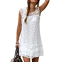 Women's Sexy White Flower Lace Sleeveless Club Skirt Summer Dress