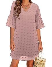 Blooming Jelly Womens White Dresses Short Sleeve V Neck Ruffle Cute Sun Dress Chiffon Flowy Shift Mini Dress