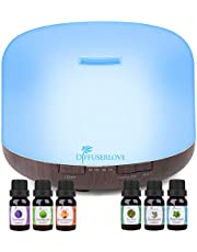 Diffuserlove Essential Oil Diffuser 500ML Ultrasonic Aromatherapy Diffuser Mist Humidifiers with Mute Design, Timer and Waterless Auto Shut-Off, 7 Color LED Lights for Office Home Bedroom Living