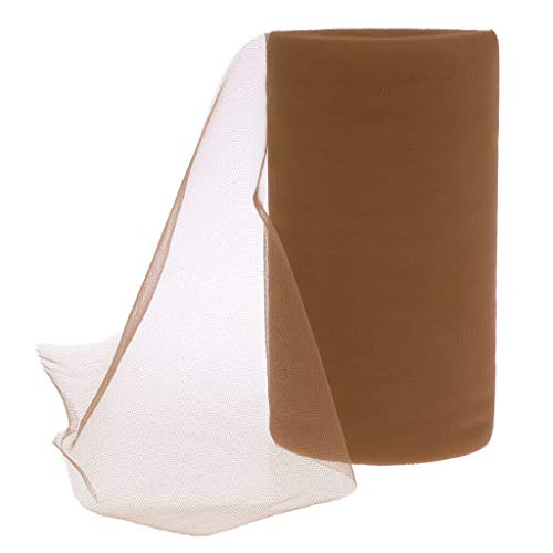 BROSCO 6X50 yds Tulle Spool Roll Wedding Bridal Party Favor Decor Tutu Bow Dress Craft | Color - Light Coffee