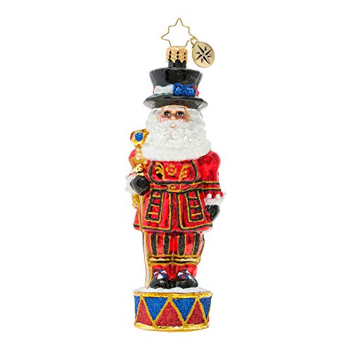 Royal Beefeater Santa Guard Rosy Red 6 x 2 Blown Glass Christmas Ornament (Christmas Beefeater)