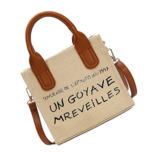 Kakiyi Hit Lettera Crossbody Donne Handbag Messaggero Stampa Shoulder Bag Canvas Della Di Mano Del Colot Beige Tote frfpqCw
