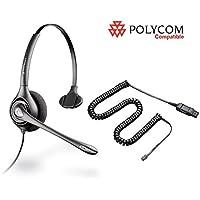 Polycom Compatible Plantronics VoIP Noise Canceling HW251N Headset Bundle for Polycom: IP 300 335 450 501 550 560 600 650 670 | VVX300 VVX310 VVX400 VVX410 VVX500 VVX600 VVX1500 | CX300 CX600 CX700