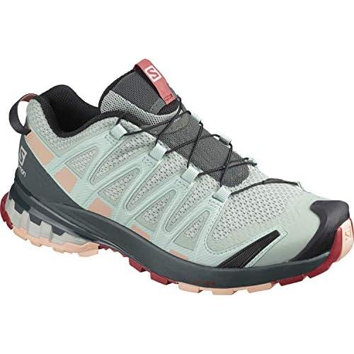 chollos oferta descuentos barato Salomon XA Pro 3D V8 W Zapatillas De Trail Running Y Sanderismo Impermeables Versión Màs Ligera Mujer Gris Aqua Gray Urban Chic Tropical Peach 45 1 3 EU