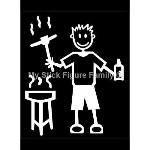 My Stick Figure Family sticker Famille autocollant voiture l'homme avec le barbecue et bière blonde, bière M6