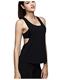 Women Racerback Loose Yoga Running Tank Top Fitness Seeveless T-Shirt Blouse